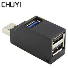 Чуи мини-usb-концентратор 3 Порты и разъёмы USB концентратор Портативный 1 Порты и разъёмы USB3.0 + 2 Порты USB 2,0 разветвитель адаптер для MacBook компьютера ПК Аксессуары