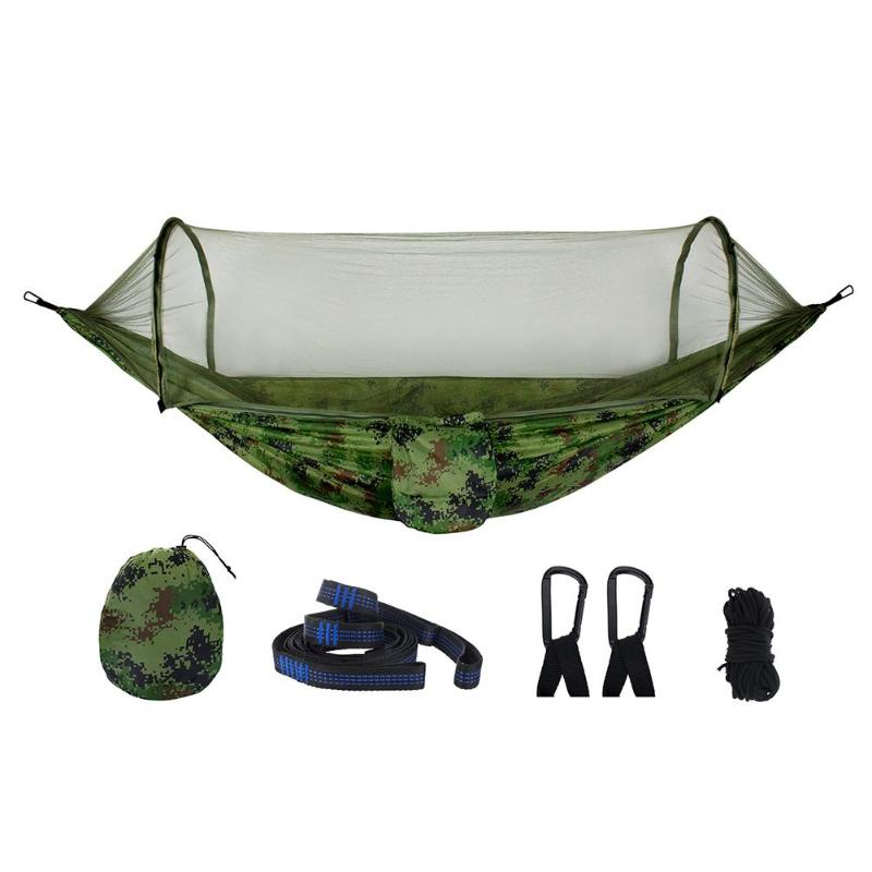 1-2 Person Portable Outdoor Hammock With Mosquito Net Parachute Fabric Camping Hanging Bed Hunting Swing Sleeping Bed