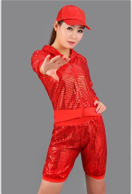 New Stage Costumes Dance Clothes Hip Hop Street Dance DS Jazz Small Sequins Set Hooded Shirt Shorts Suit