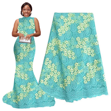 Latest African Laces 2019 Aqua Cream French Fabrics High Quality Tulle Lace Polyester Material Nigeria Fabric