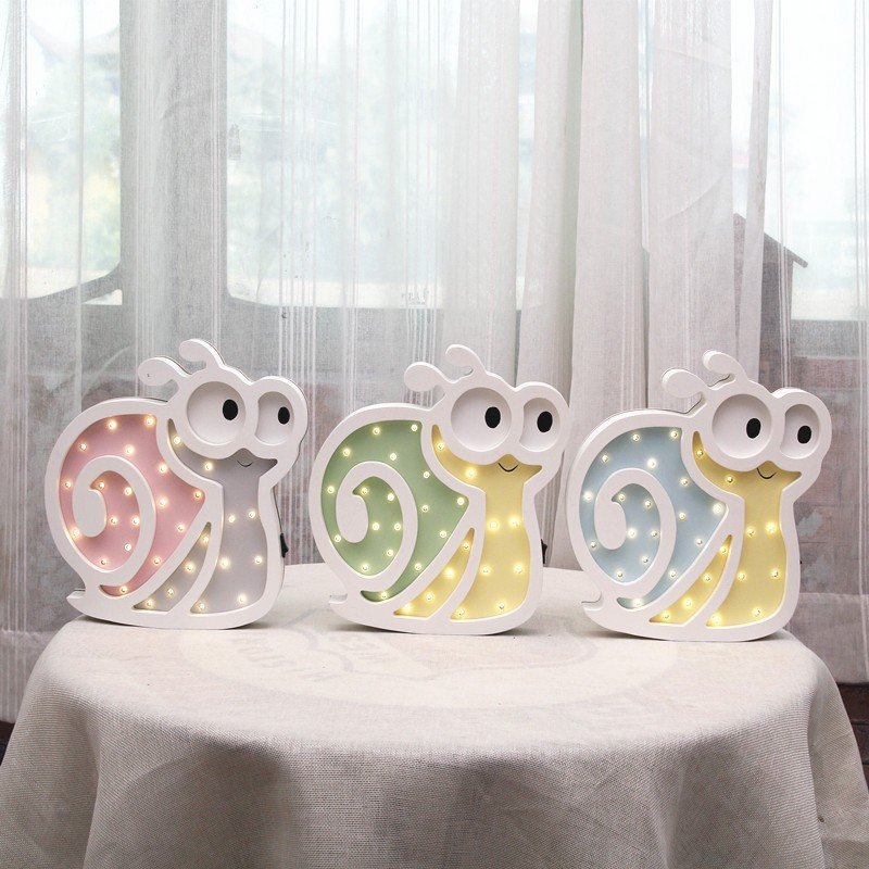 Nordic LED Night Light Battery Power Table Lamp New Year Party Wedding Decoration Cartoon Snail Valentine's Day Gift Hot Sale