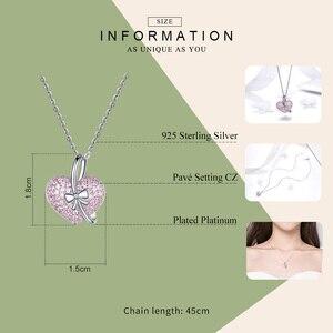 Image 2 - Bamoer coração colar de prata 925 luminoso rosa cz bowknot pingente colares para mulheres presentes de jóias finas para ela 45mm bsn049