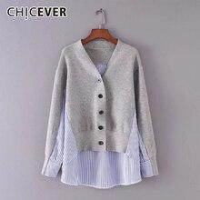 Chicever秋の女性のセーター女性のトップ長袖裾非対称ルースビッグサイズカーディガンセータージャンパー服新