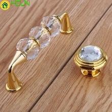 96mm Fashion Deluxe Glass Crystal Win Cabinet Dresser Door Handles Golden Drawer Knobs Pulls 3.75 Diamond