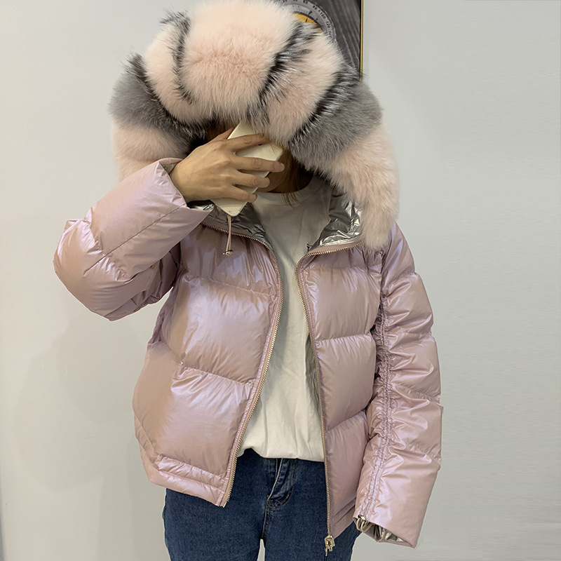 Large Real Natural Fox Fur Winter Jacket New Double Sided Waterproof Coat Women Down Parkas Coats Hooded White Duck Down Jacket