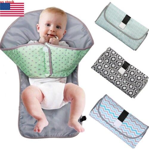 3-en-1 multifuncional portátil bebé plegable orina Mat impermeable bolsa de pañales cubierta de viaje de Pad al aire libre