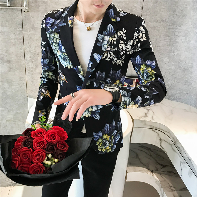 2019 Fancy Floral Mens Blazer Mens Suits Costume Homme Taille Ternos Masculinos Slim Fit Vintage Flowers Printed Blazers Men 3XL