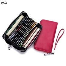 Купить с кэшбэком RFID 27 Credit Card Holders Women Wallets Genuine Leather Wallet Long Brief Zipper Clutch Purse Female ID Card Holder Case