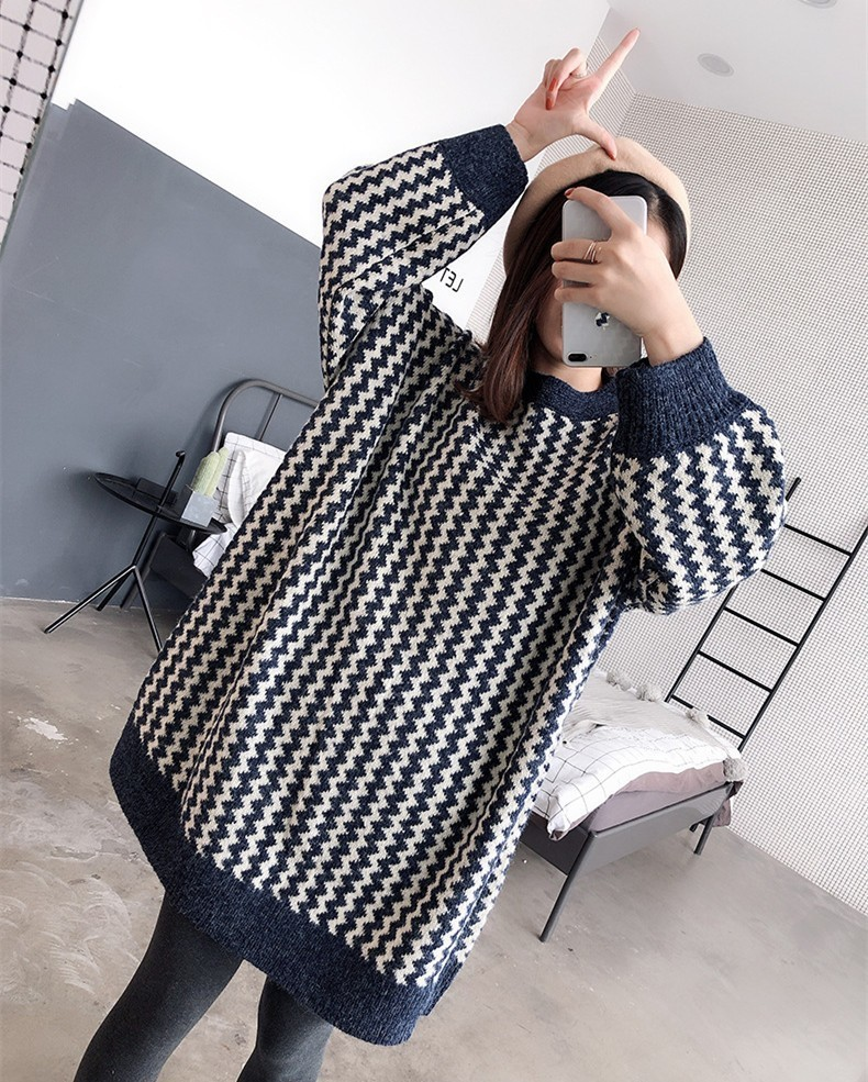 Chandails de maternité mode chevrons lâche grande taille manteau d'hiver pour les femmes enceintes longue grossesse pull grossesse pull