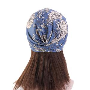 Image 5 - נשים פרחוני הדפסת כובע מוסלמי חיג אב הכימותרפיה סרטן כובע אסלאמי שיער אובדן כובע ראש צעיף טורבן סאטן אניה פנימי כובע ערבי אופנה