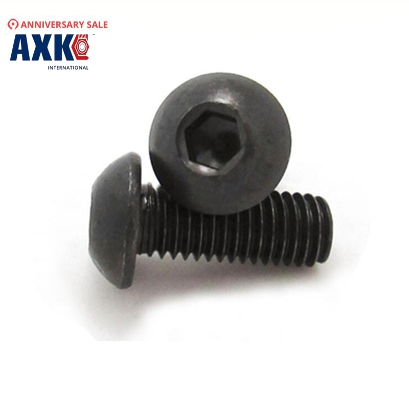 100pcs Grade 10.9 Iso7380 <font><b>M2</b></font>*3/4/5/6/8/10/12/14/16/18/20 2mm Button Head Hex Socket <font><b>Screws</b></font> Steel With Black image