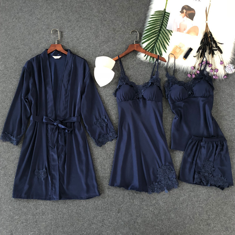 4 Pcs Lace Sexy Women Pajamas Sets Spaghetti Strap With Chest Pad Night Shorts With Belt Cardigan Set Sleepwear