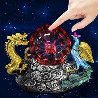 Magic Lighting Sphere Lamp Touch Sense Static Light Dragon Thunder Plasma Ball Resin 110V US Plug Perfect Gift for Friends Kids