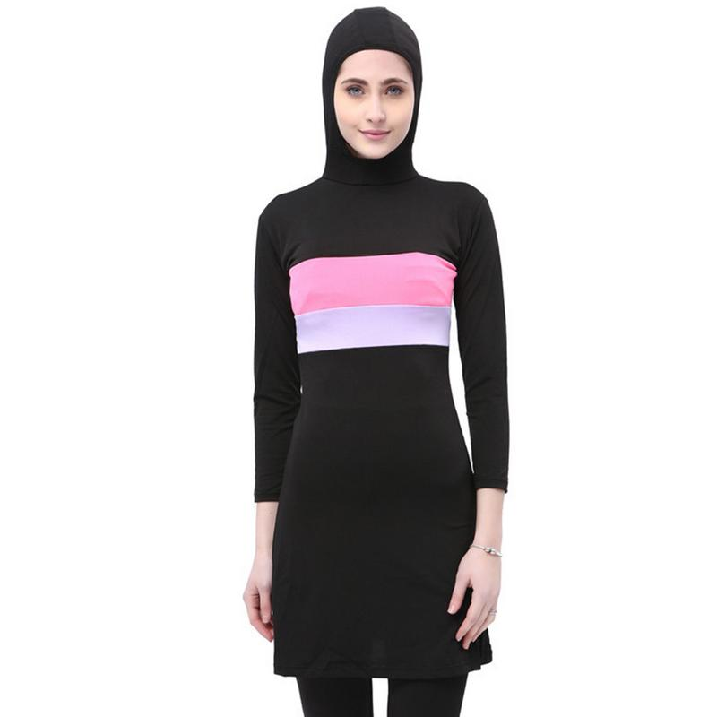 Women Long Sleeve Muslim Swimwear Contrast Color Hooded Hijab Arabic Islamic Swim Surf Wear Burkinis Bathing Suit Plus Size