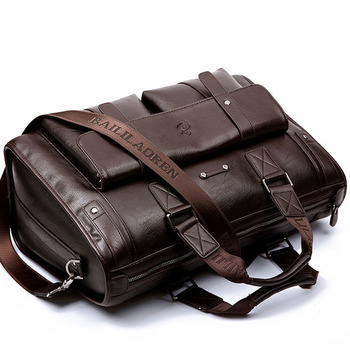 Large Capacity Men Leather Brown Briefcase Computer Bags Male Handbag Mens Laptop Super Travel Bags For Ausu Hp Dell Lenovo Acer