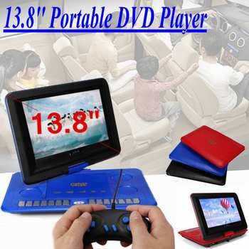 "LEORY 1800mAh 13.8"" Game Remote Control Portable Home Car DVD Player 270 D Screen USB SD-Card TV Program Search Function"