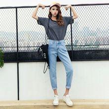 Модные женские джинсы, винтажные женские шикарные Универсальные однотонные Свободные повседневные джинсы с высокой талией, весенние узкие обтягивающие штаны