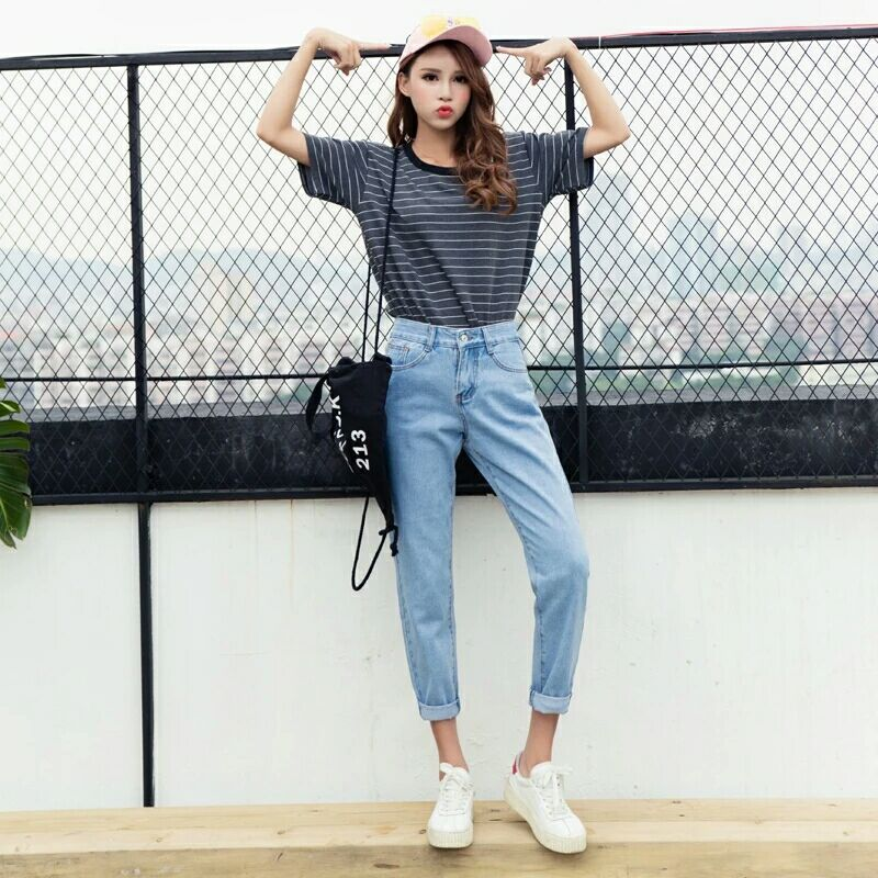 2019 Fashion Women's Jeans Vintage Ladies Chic All Match Solid Color High Waisted Loose Casual Denim Spring Slim Tight Pants