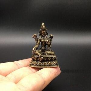 Image 3 - Statue de bouddha Tara Bodhisattva verte, Collection de cuivre chinois sculpté, petites Statues exquises