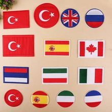 PGY Cheap Wholesale Britain Canada Flag Embroidered Patches Iron on Clothes Coat Bags Diy Garment Stickers Accessories Badge(China)