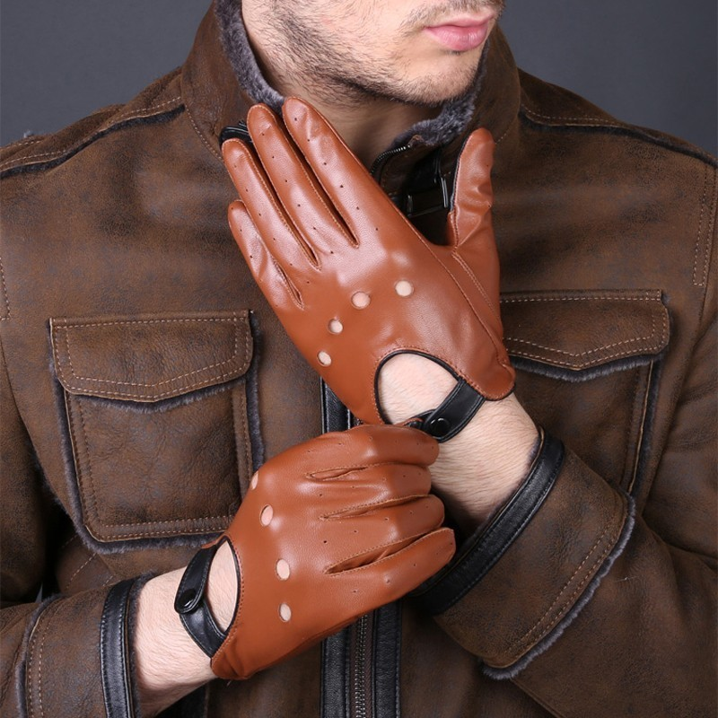 New Arrival Luxury Mens Genuine Leather Gloves Sheepskin Gloves Fashion Men Black Breathable Driving Gloves For Male Mittens title=