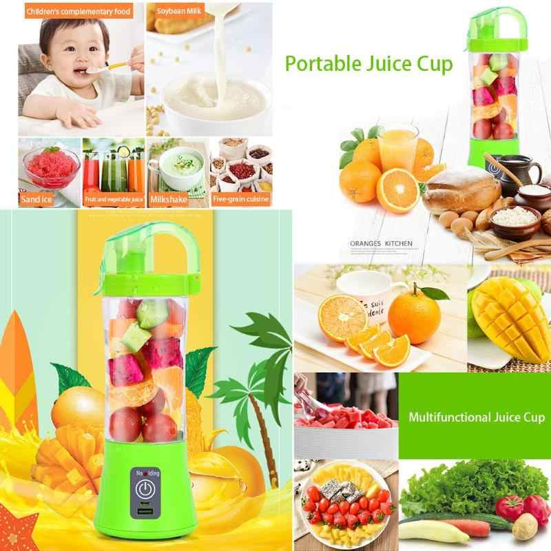 380 ml Portátil 2 Lâminas Liquidificador Espremedor Hot Mini USB Recarregável Frutas Liquidificadores Juicer Extractor Smoothie Criador Milk Shake Mixer