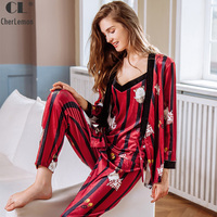 CherLemon 3 Pieces Velvet Pajama Sets Autumn and Winter Women Sexy Striped Pijamas Full Length Nightwear Female Sleepwear M XL