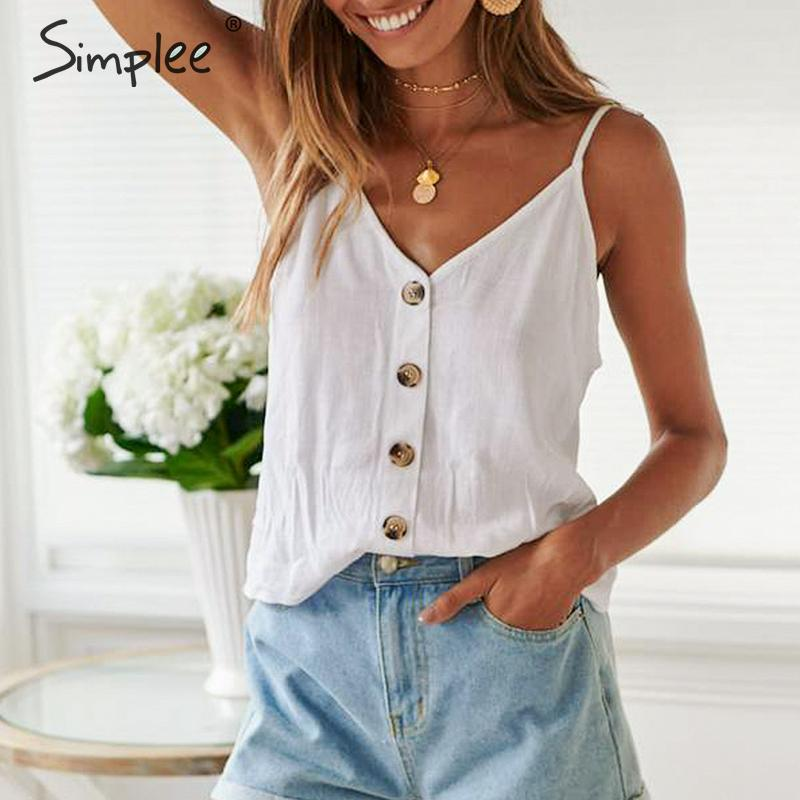 Simplee Sexy spaghetti strap women   tank     tops   Elegant buttons solid white cami   tops   Summer style streetwear female   tops   2019