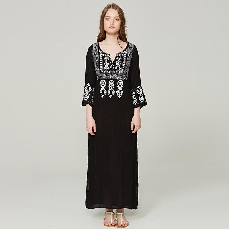 fe5bf714 Vestidos largos negros de algodón estilo bohemio Hippie de verano bordado  étnico Vintage ...