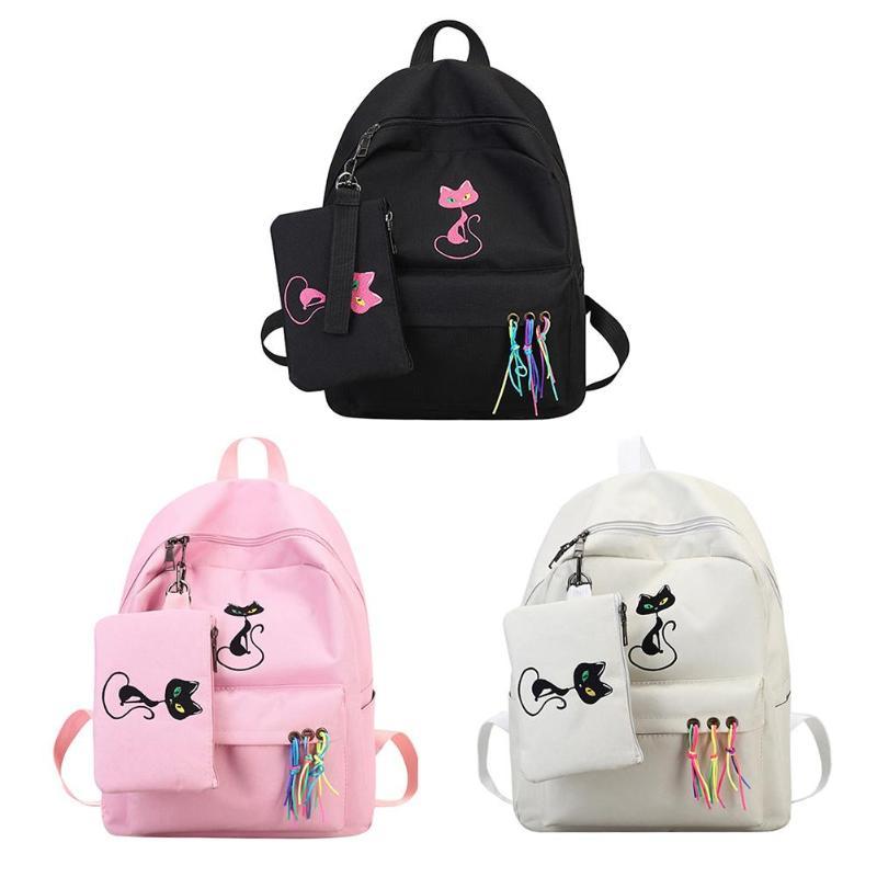 Canvas Women Cat Printed Backpacks Girls Travel Casual Shoulder School BagsCanvas Women Cat Printed Backpacks Girls Travel Casual Shoulder School Bags