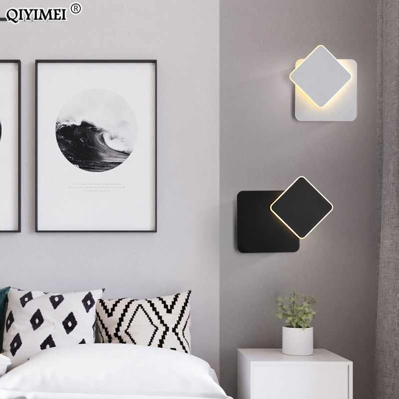 Квадратный светодиодный настенный светильник для спальни гостиной белый черный бра, настенные светильники 360 градусов поворачивающийся металлический 5 Вт/16 Вт светильники