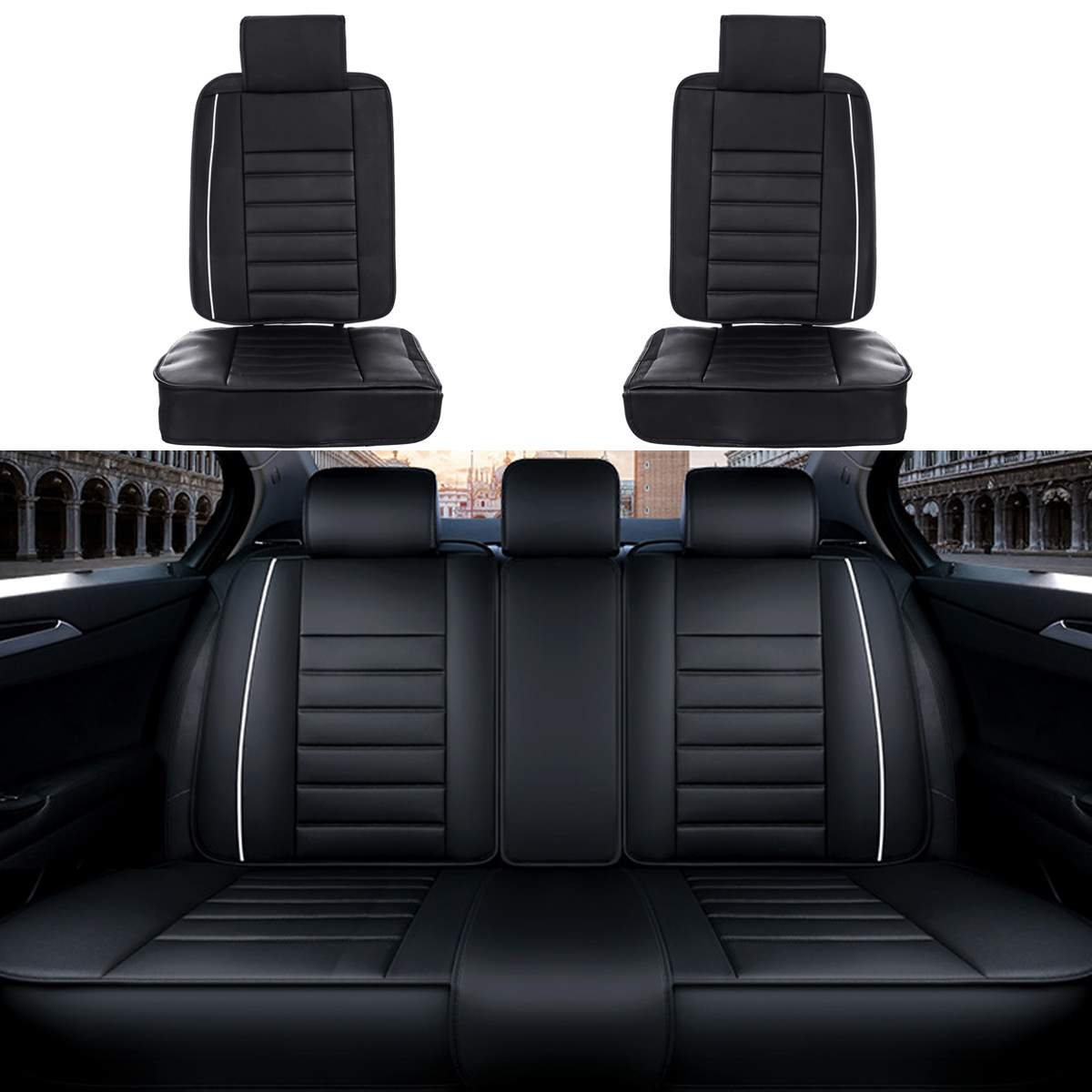 PU Leather Full Set 5-Seats Universal Car Seat Cover Cushion SUV Front & Rear Interior Car Protector Accessories BlackPU Leather Full Set 5-Seats Universal Car Seat Cover Cushion SUV Front & Rear Interior Car Protector Accessories Black
