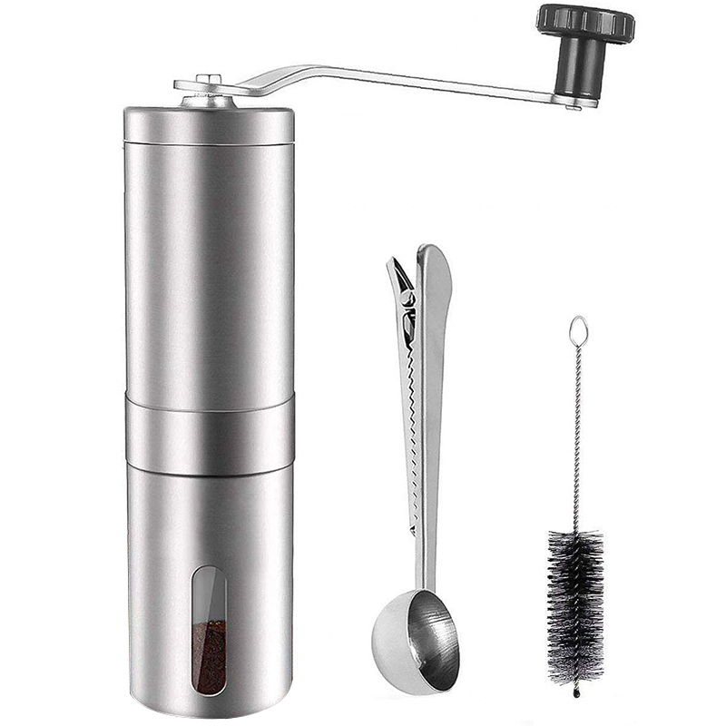 Manual Coffee Grinder,Adjustable Conical Burr Brushed Stainless Steel Coffee Beans Manual Grinder Portable Travel And Handheld