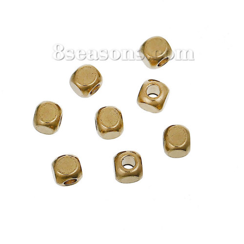 Brass Spacer Beads Cube Brass Color About 3mm( 1/<font><b>8</b></font>