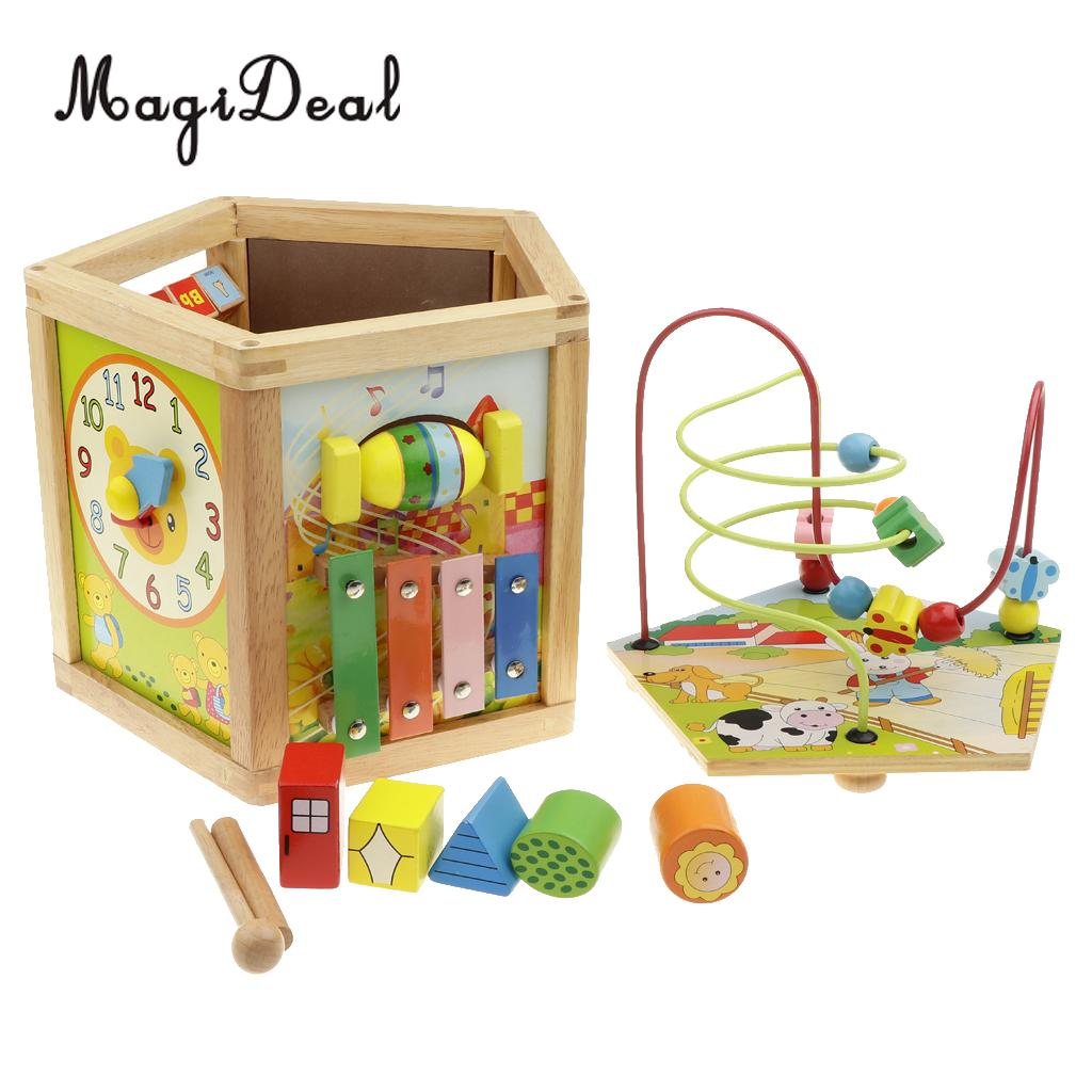 купить 5 in 1 Multi-function Wooden Beads Maze Cube Activity Play Center, Kids Early Educational Toy