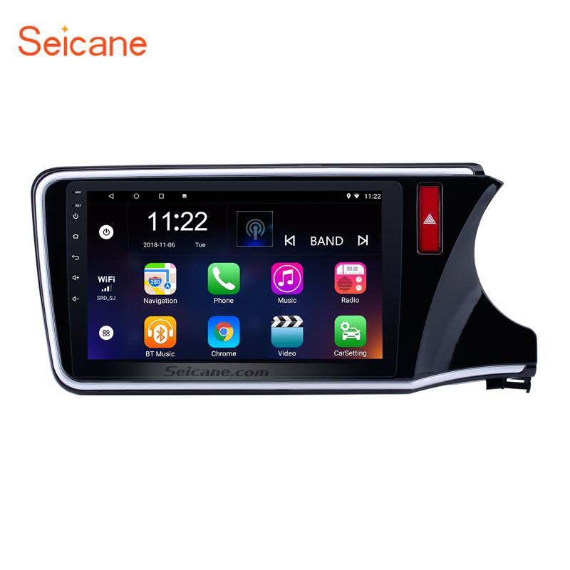 <font><b>Seicane</b></font> 10.1 inch HD 1024*600 Android 8.1 Car Stereo GPS Unit Player for 2014-2017 <font><b>HONDA</b></font> <font><b>CITY</b></font> RHD Radio with WIFI Bluetooth image