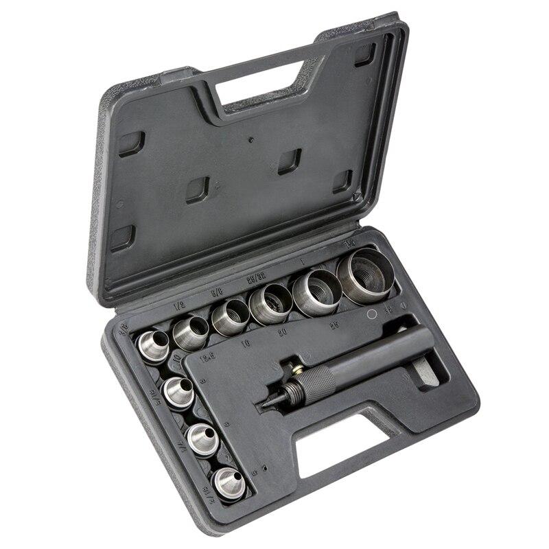 10 piezas de servicio pesado hueco Punch conjunto Kit de junta de goma de cuero de perforación de bricolaje Leathercraft perforación Herramientas Para Cuer