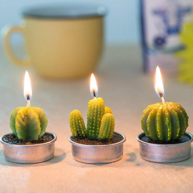 12Pcs New 3D Cactus Candles Creative Home Decoration Simulated Plants Smokeless Scented Candle Valentine Day Gift Party Ornament 1