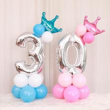 Taoup 32inch Crown Balloons Number Ballons Accessories Happy Childrens Birthday Foil Babyshower Party Decor Supplies