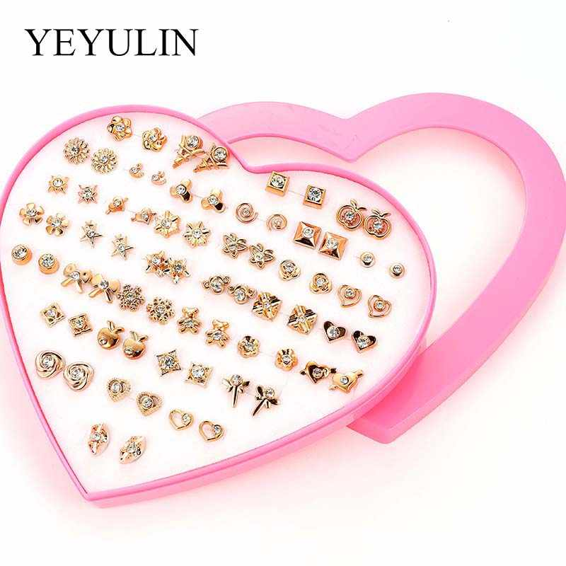 36Pair/lot Multi-style Colorful Animal Heart Star Moon Geometric Crystal plastic Stud Earring Set For Women Girls Jewelry Gifts