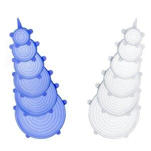 Image 1 - 12パックシリコーンストレッチ蓋、耐久性のある拡張可能な食品セーバーため腸耐熱皿皿瓶食品容器