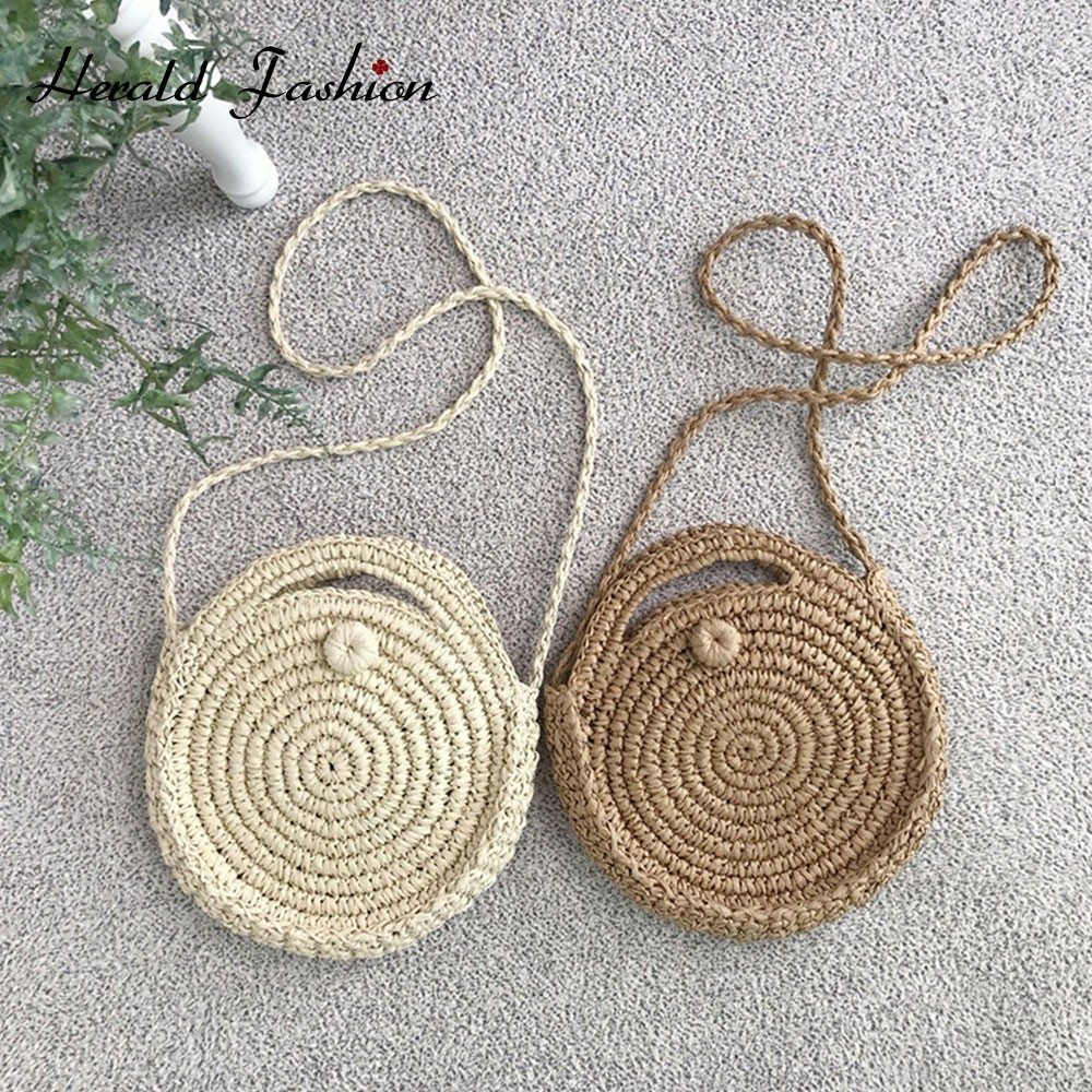 Herald Fashion Round Straw Beach Bag Vintage Handmade Woven Shoulder Bag Raffia Circle Rattan Bags Bohemian Summer Casual BagsHerald Fashion Round Straw Beach Bag Vintage Handmade Woven Shoulder Bag Raffia Circle Rattan Bags Bohemian Summer Casual Bags