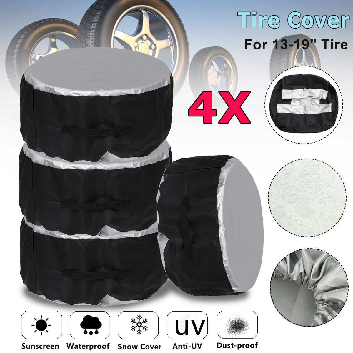 4 pièces universel 13-19 16-20 pouces voiture SUV pneu housse pneu de secours roue sac pneu de rechange stockage fourre-tout Polyester Oxford tissu
