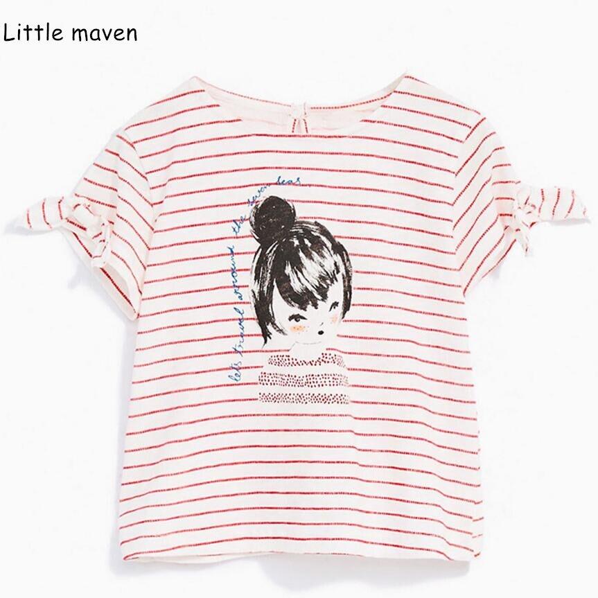 22ca9a0ca77 Little maven 2019 г. летняя одежда для маленьких девочек хлопок Принт  брендовая футболка в