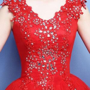 Image 5 - Vestido דה Noiva 2020 V צוואר אדום ואגלי ללא משענת Quinceanera שמלות טול קריסטל כדור שמלת אלגנטי Quinceanera שמלות