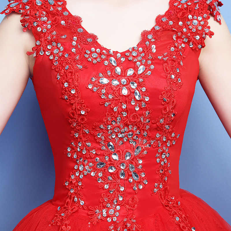 Vestido de noiva 2019 v-neck vermelho beading backless quinceanera vestidos tule cristal vestido de baile elegante quinceanera vestidos