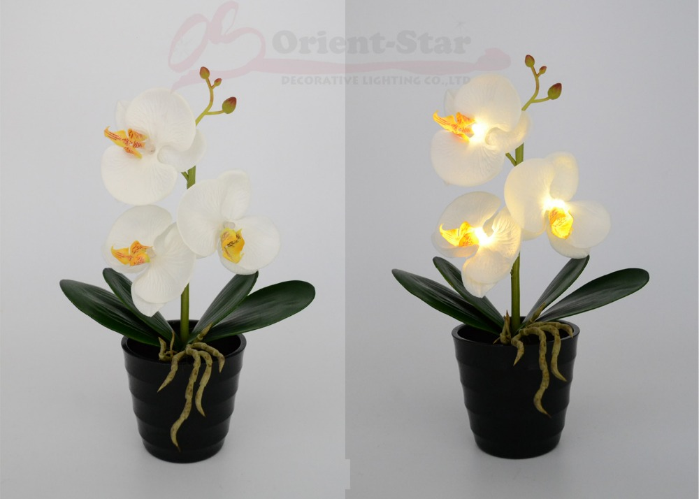 Lights & Lighting Artificial Potted Orchid Led Light Florist Lighting Balcony Energy Saving Led Light Battery Operated Orchid Pot With 9 Lights