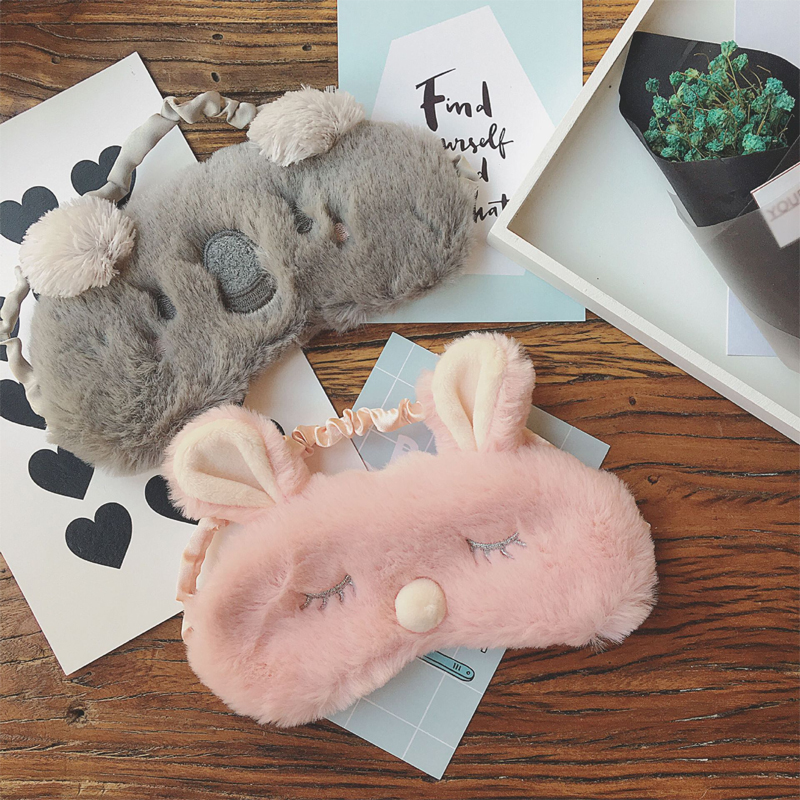 Cute Animal Sleeping Eye Toy Mask Cartoon Blindfold Koala Rabbit Eye Christmas Deer Soft Cover Girl Sleep Plush Eyeshade Tool