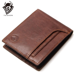 TAUREN RFID BLOCKING New Stylish Men Wallet Genuine Cow Leather Male Bifold Purse With <font><b>Card</b></font> Pocket RFID Protection