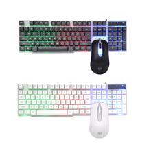 SUNROSE T20 USB przewodowy 104 klawisze klawiatura + mysz odporny na zachlapanie zestaw dla biuro w domu gier komputerowych klawiatura i mysz combo dla LOL